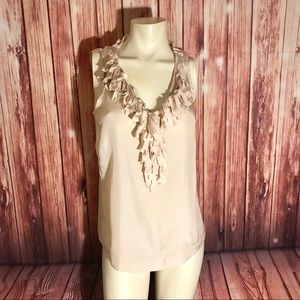 J.Crew Blush Pink Sleeveless Fringe Blouse